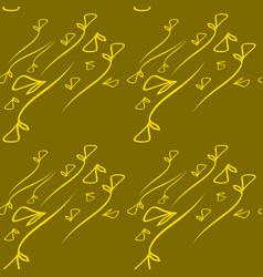 Pattern of vegetable lemon elements on a mustard vector