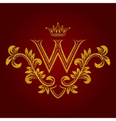 Patterned golden letter W monogram in vintage vector image