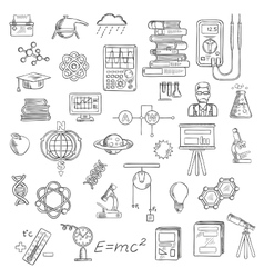 Physics chemistry and astronomy science sketches vector image