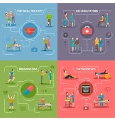 Physiotherapy Rehabilitation 2x2 Design Concept vector