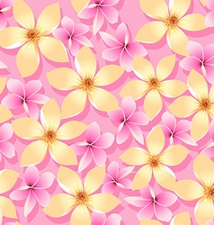 Pink and orange tropical flowers seamless pattern vector