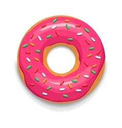Pink glazed donut icon cartoon style vector