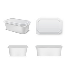 plastic food container mockup set storage and vector image