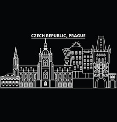 prague silhouette skyline czech republic - prague vector image