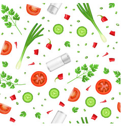 realistic detailed 3d food ingredients seamless vector image