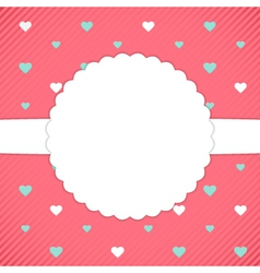 Red template card with blue and white hearts vector image vector image