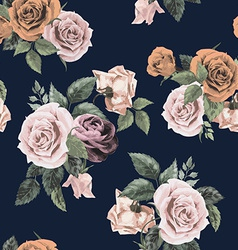 Seamless floral pattern with roses on dark vector