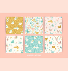 Seamless patterns with bunnies and chicken vector