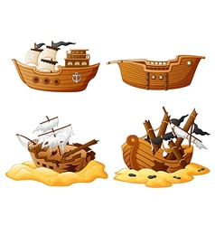 Set of broken pirate ship vector