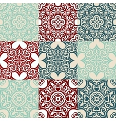 set of Seamless vintage ornametal pattern vector image