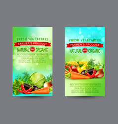 Set of two vertical banners with realistic vector