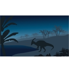 Silhouette of single parasaurolophus vector