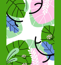 simple abstract background with exotic plants vector image