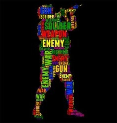 Soliders typography word cloud colorful vector