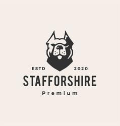 staffordshire terrier dog hipster vintage logo vector image