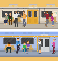 Subway people in metro and passengers in vector
