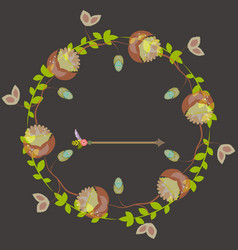 template for postcard invitation with wreath vector image