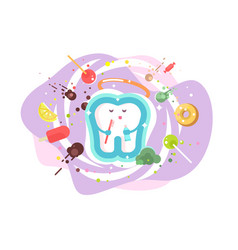 Tooth protection and dental care vector