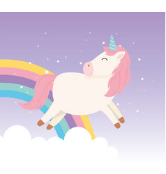 unicorn rainbow fairytale magical fantasy cartoon vector image