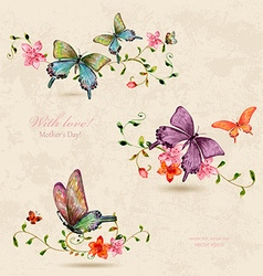 Vintage a collection of butterflies on flowers vector
