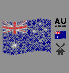waving australia flag composition wind mill vector image