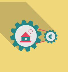 web sign icon button with house and coin into vector image