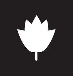 white icon on black background tree leaf vector image