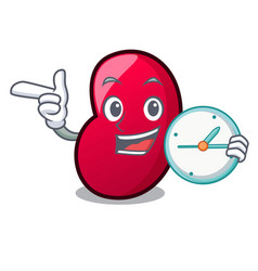 with clock jelly bean character cartoon vector image