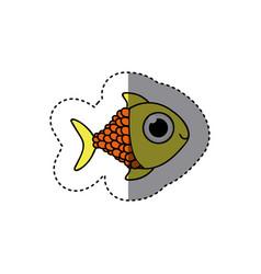 Yellow happy fish scalescartoon icon vector