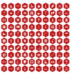 100 human health icons hexagon red vector