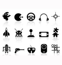 black computer game icon vector image
