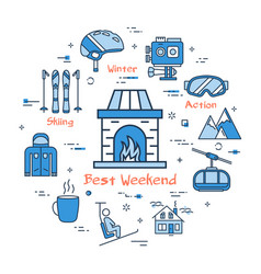 blue best weekend mountain concept vector image vector image