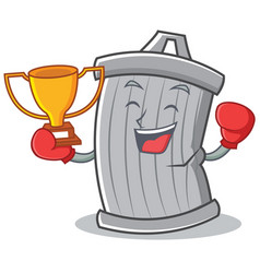 boxing trash character cartoon style vector image vector image