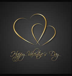 gold black simple happy valentines day card vector image vector image