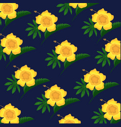 hibiscus flower tropical leaves decoration vector image