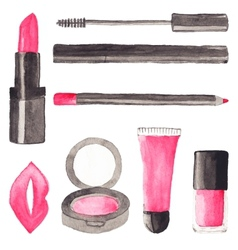 Make up stuff Set of watercolor beauty items on vector image