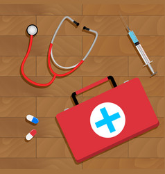 tools of doctor on table vector image