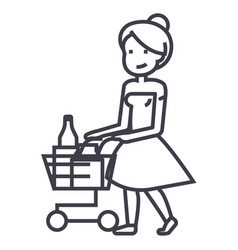 woman shopping in supermarket with cart vector image
