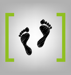 foot prints sign black scribble icon in vector image