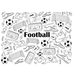 Football colorless set vector image vector image