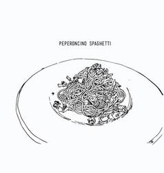 peperoncino spaghetti hand drawn sketch water vector image vector image