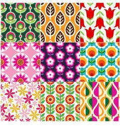 seamless retro flower pattern vector image vector image