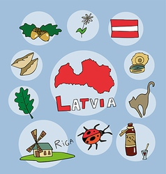 set of national profile of the latvia vector image