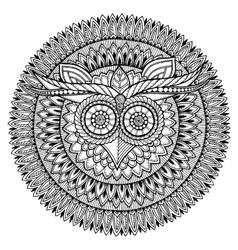 Birds theme Owl black and white mandala with vector image