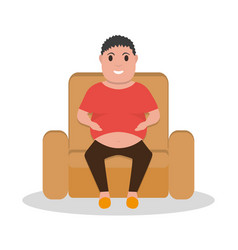 cartoon fat man sitting in a armchair vector image vector image