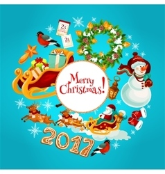 Christmas New Year winter holidays poster design vector image vector image