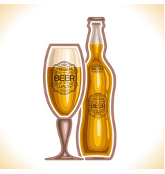 glass cup and bottle beer vector image vector image