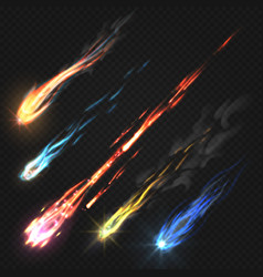 sky comets and meteorite rocket trails isolated vector image