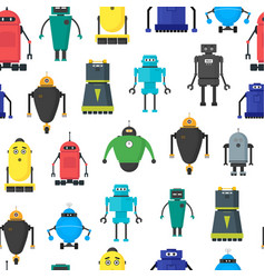 cartoon cute toy robots background pattern vector image vector image