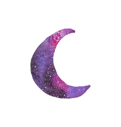 Cosmic crescent Watercolor galaxy crescent on the vector image